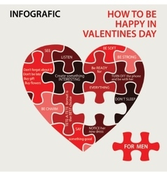 Heart pazzle how to be happy in valentines day vector