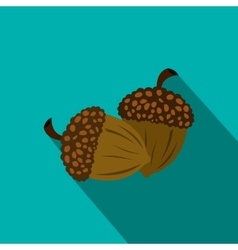 Acorn flat icon with shadow vector image