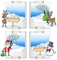 Four picture frames with christmas theme vector image