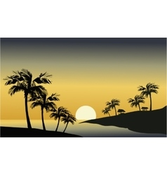 Silhouette of river and palm tree vector