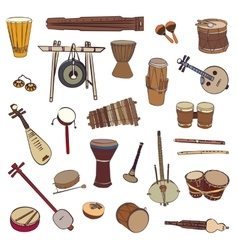 Ethnic traditional musical instruments vector image