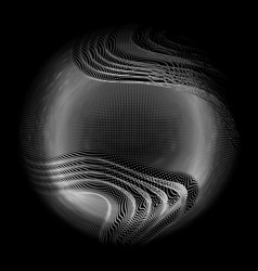 abstract white mesh sphere on dark vector image vector image