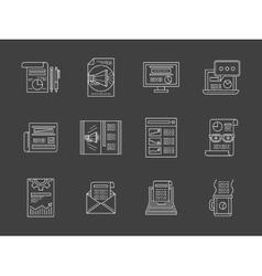 Advertising articles white line icons set vector image vector image