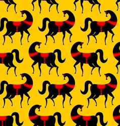 Black horse gorodets painting seamless pattern vector