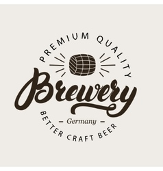 Brewery hand written calligraphy lettering logo vector image vector image