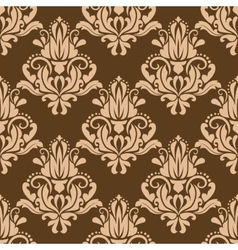 Brown and beige floral seamless pattern vector image
