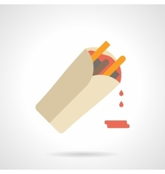 Burrito with sauce flat color icon vector