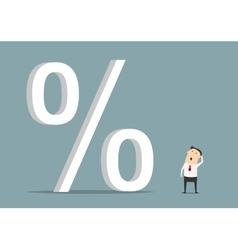 Businessman looking up at big percent symbol vector