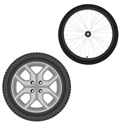 Car and bicycle wheel vector image vector image