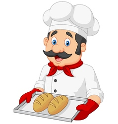 Cartoon Chef Serving bread vector image vector image
