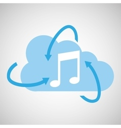 cloud technology media music note icon vector image