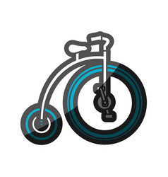 Color silhouette with penny farthing with blue vector