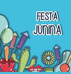 colorful elements of festa junina celebration vector image