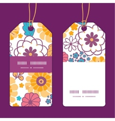Colorful oriental flowers vertical stripe vector