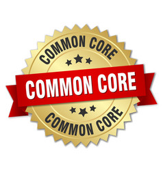 Common core round isolated gold badge vector