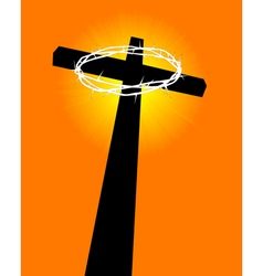 cross and crown of thorns vector image