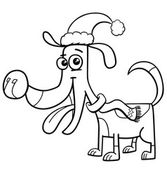 Dog with scarf coloring book vector
