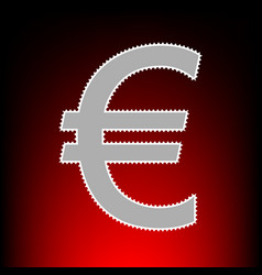 euro sign postage stamp or old photo style on red vector image