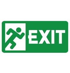 green exit emergency sign vector image