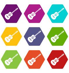 guitar icon set color hexahedron vector image