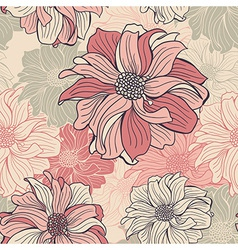 Hand-drawn flowers of dahlia Seamless background vector image vector image