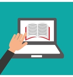 Hands holds laptop-book online education vector