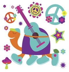 Happy birthday card with turtle guitarist and many vector image