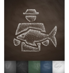 Man with fish icon hand drawn vector