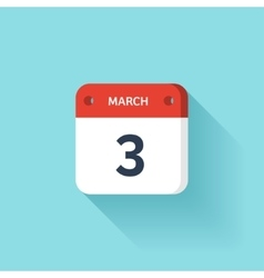 March 3 isometric calendar icon with shadow vector
