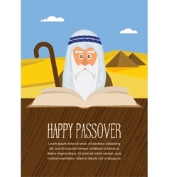 Moses reading Passover Haggadah on Egypt vector image vector image