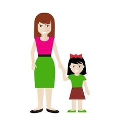 Mother and Daughter in Flat Design vector image vector image