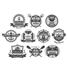nautical marine heraldic icons set vector image vector image