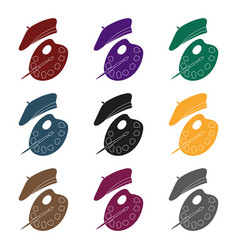 painting palette and beret icon in black style vector image vector image