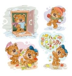 Set clip art of funny teddy vector image