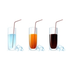 Set of cold drink glasses on white background vector