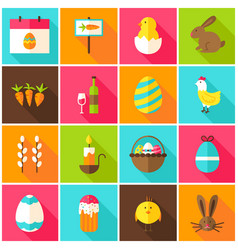 spring easter colorful icons vector image