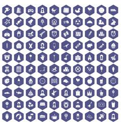 100 child center icons hexagon purple vector