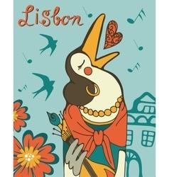 Lisbon crow fado singer vector