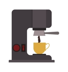 Coffee maker with porcelain cup vector