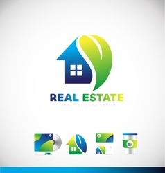 Real estate eco home logo icon design vector