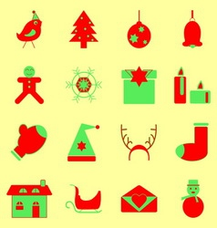 Christmas red and green color icons vector image