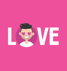 Valentines day love sign cute cartoon boy with vector