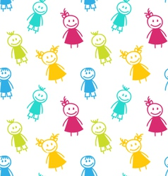 Seamless Background with Smiling Girls and Boys vector image