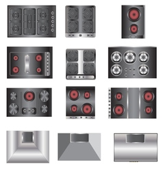 Kitchen equipment electric stove top view set 4 vector