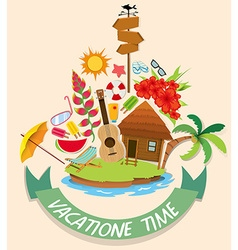 Vacation theme with cabin and beach objects vector