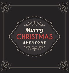 Vintage retro merry christmas greetings badge on vector