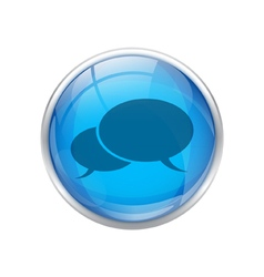 Blue talk button vector