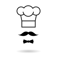 Chef hat and moustache icon vector