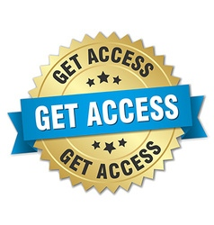 Get access 3d gold badge with blue ribbon vector