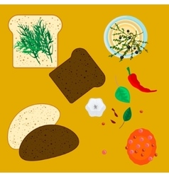 Wheat and rye slices of bread with spice herbs vector